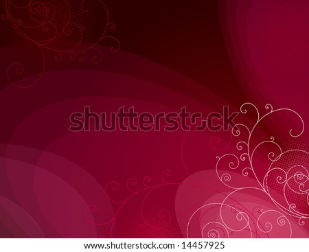 red background with  decorative lines ans squiggle, vector illustration
