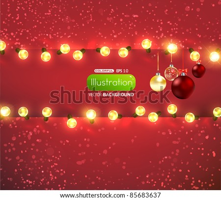 Red background with frame, christmas balls and lamp festive garland for holiday xmas design. - stock vector
