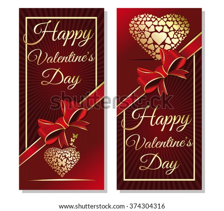 Red background with ribbon and bow for Valentine's Day. Greeting inscription - Happy Valentine's Day. Golden heart on red background. Gold greeting inscription. - stock vector