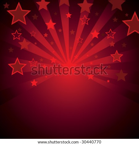 red background with stars - stock vector