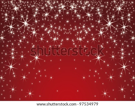 red background with stars. Vector