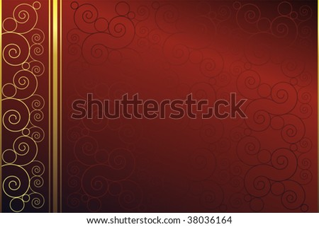 Red background with swirls. Easy to edit vector image. - stock vector