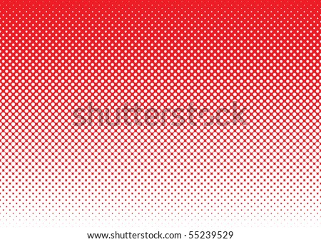 Red background with white halftone dot gradient concept - stock vector