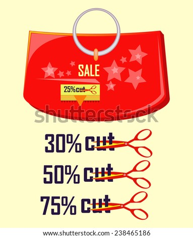 red bag with sale and discount label - stock vector