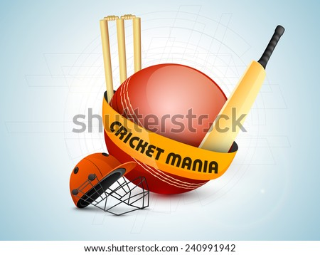 Red ball with bat, helmet and wicket stumps on hi-tech background for Cricket Mania. - stock vector
