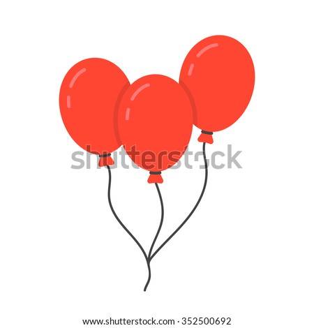 red balloon icon with rope. concept of happy valentine day, recreational, recreation park item, festival, toy. isolated on white background. flat style trend modern logo design vector illustration - stock vector