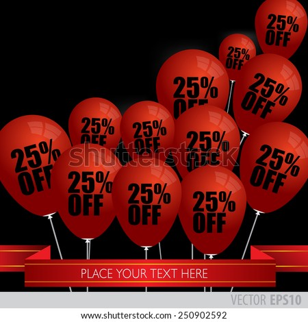 Red balloons With Sale Discounts 25 percent.