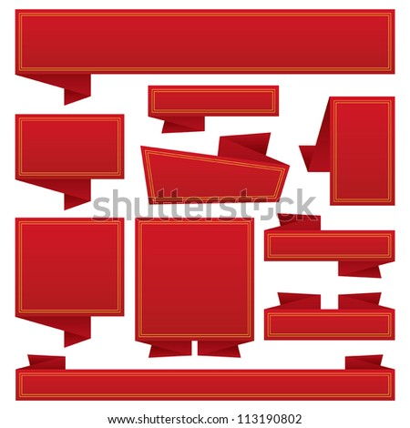 red banners and ribbons with copy space, isolated on white - stock vector
