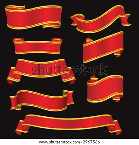 Red Banners created using vector graphics
