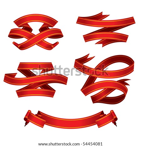 red banners set, vector - stock vector