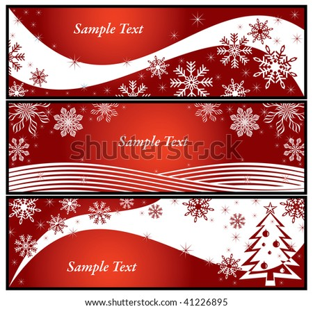 Red banners set with snowflake and Christmas tree. Colorful vector illustration. - stock vector