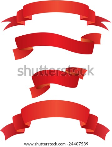 Red Banners (vector) - stock vector