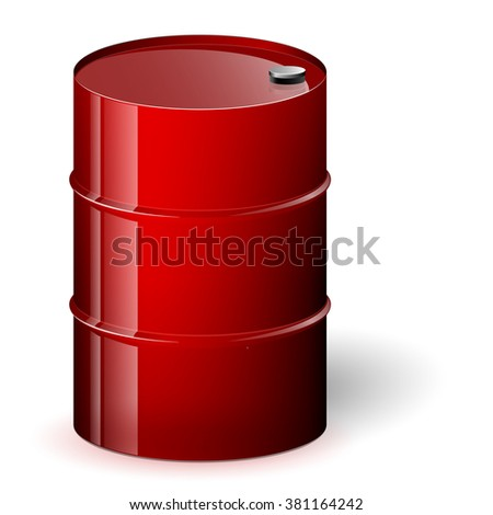 Red barrel vector illustration. Isolated oil barrel on white background.