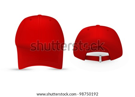 Red baseball cap template. Front and rear views. - stock vector