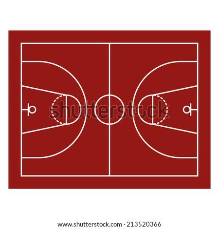 Red Basketball Field. Sport Background. Vector Illustration - stock vector