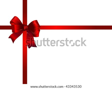 Red Beautiful bow and ribbon on the top of the gift box, vector. Isolated on white