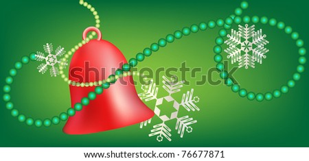 Red bell with snowflakes and green beads on green background