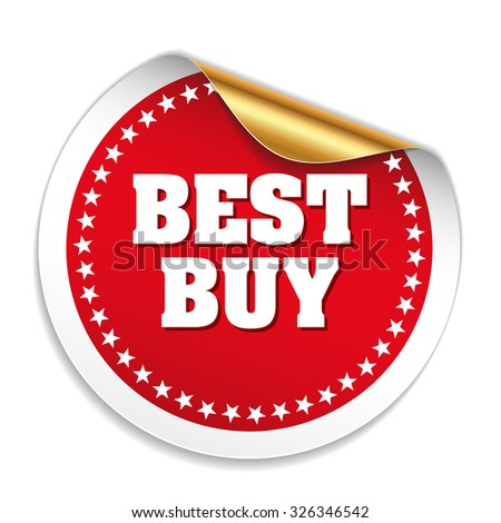Red best buy sticker with gold peal - stock vector