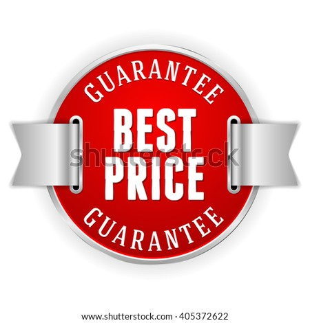Red best price guarantee badge, rosette with silver border and ribbon