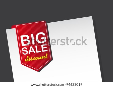 red big sale tag over white paper over black background. vector - stock vector