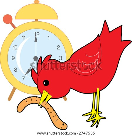 Red bird catching a worm with an alarm clock in the background - stock vector