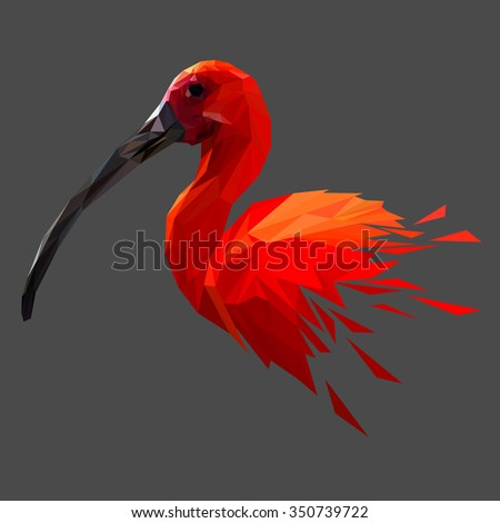 Red bird low poly design. Triangle vector illustration. - stock vector