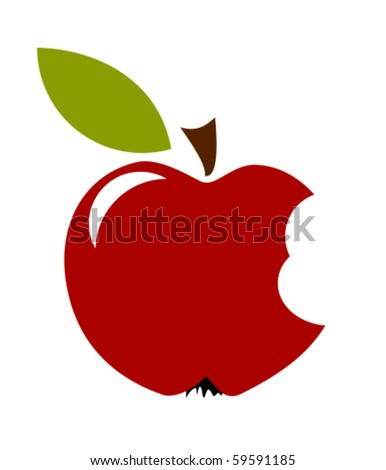 Red Bitten Apple With Leaf Isolated Over White