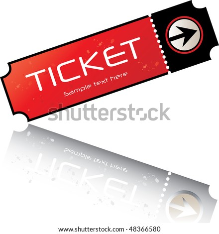 red-black admission ticket - stock vector