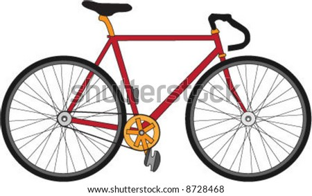 Red, black and gold bicycle (vector)