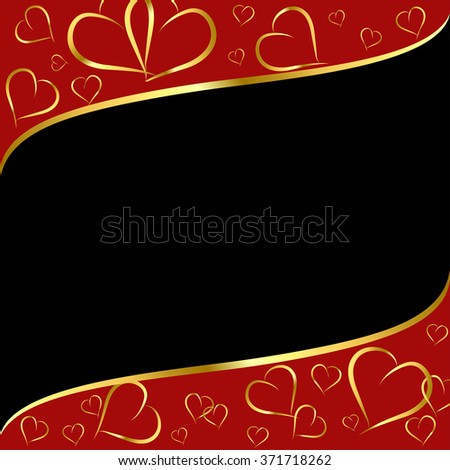 red-black background with a pattern of gold contour hearts