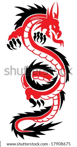 Red-black dragon. A tattoo in the form of a dragon. - stock vector