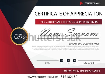 Red black elegance horizontal certificate vector stock vector red black elegance horizontal certificate with vector illustration white frame certificate template with clean and yadclub Image collections