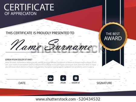 Red black elegance vertical certificate vector stock vector red black elegance vertical certificate with vector illustration white frame certificate template with clean and yelopaper Gallery