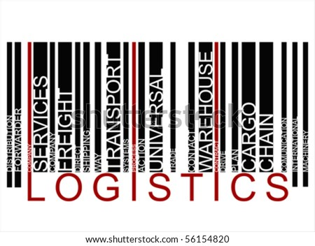 RED BLACK LOGISTICS text barcode, vector - stock vector