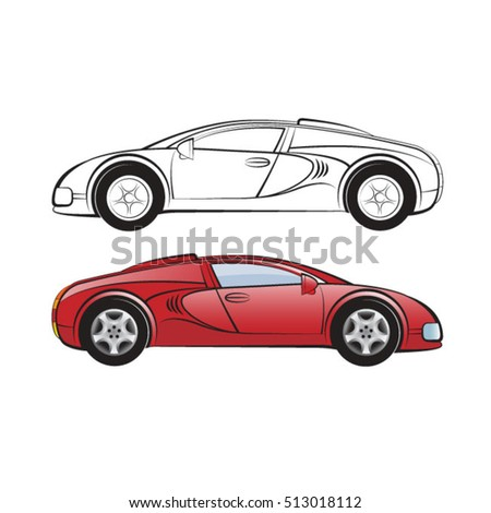 Red Black Outline Sports Carvector Drawing Stock Vector