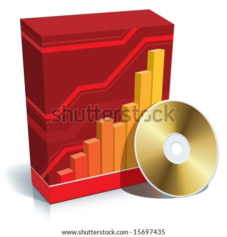 Red blank 3d box with a graph and CD.