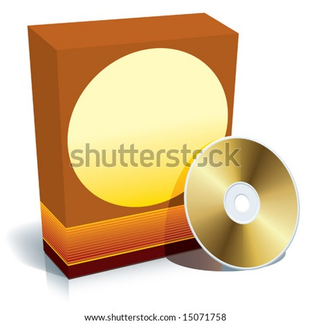 Red blank 3d box with CD, ready to use, vector. - stock vector