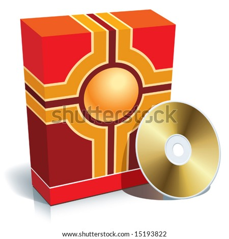 Red blank 3d box with CD, vector.