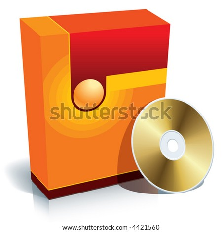 Red blank 3d box with CD, vector - stock vector