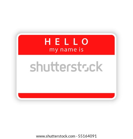Red blank name tag sticker with shadow on white background - stock vector