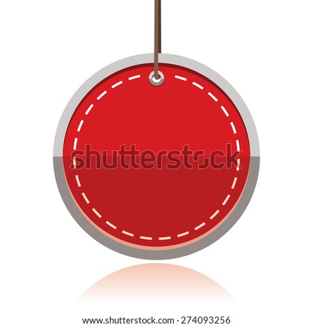 red blank sticker, promotional label - stock vector