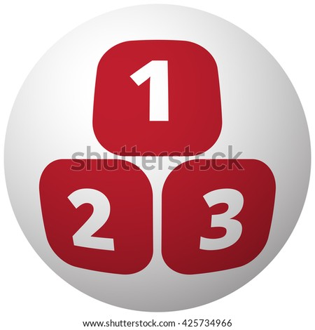Red 123 Blocks icon on white ball - stock vector