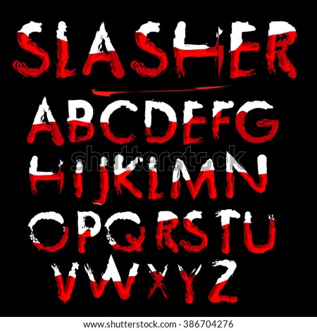 Red Blood text. Halloween horror letters, vector illustration. Slasher font. Vector blood alphabet is isolated on a black background. Scratch Brush Font - Powerful, Aggressive   - stock vector