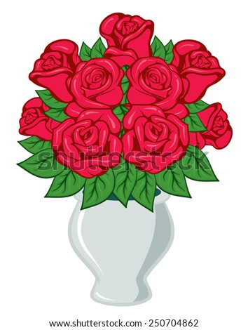 red blooming roses with green leaves in a vase - stock vector