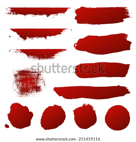 Red Blots Set, Vector Illustration - stock vector