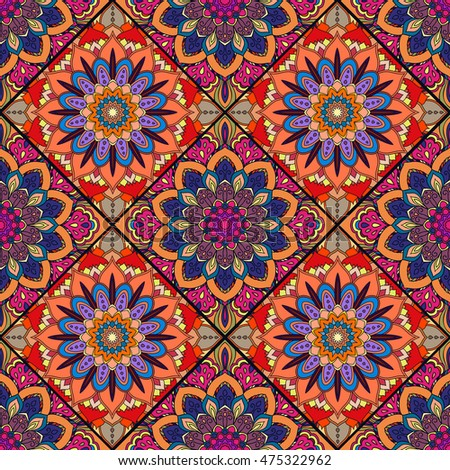 Red Blue Boho Flower Seamless Pattern Mandala Patchwork Floral Tiles Oriental Hippie Design