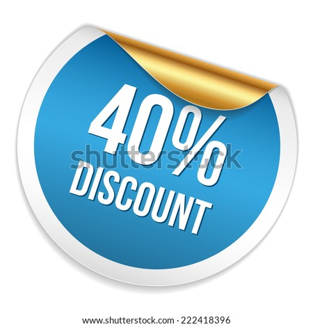 Red blue forty percent discount sticker on white background - stock vector