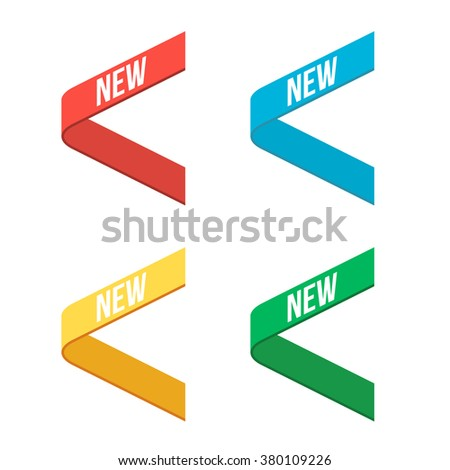 Red, Blue, Green, Yellow Side New Ribbons. Signs New. New Ribbons. Stickers. - stock vector