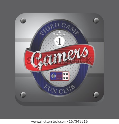red blue theme video game club button label art - stock vector