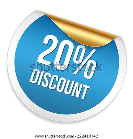 Red blue twenty percent discount sticker on white background - stock vector